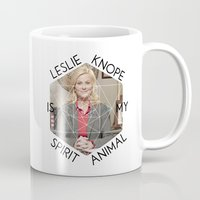 leslie knope Mugs featuring Leslie Knope is My Spirit Animal by Dwell Beautiful