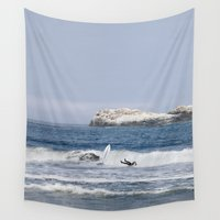 surfboard Wall Tapestries featuring The Wipeout by Mark Alder