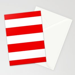 Stripe Red White Stationery Cards