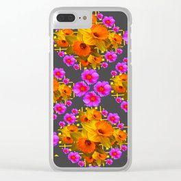 Hot Pink Roses Golden Daffodils Dark Grey Art Clear iPhone Case