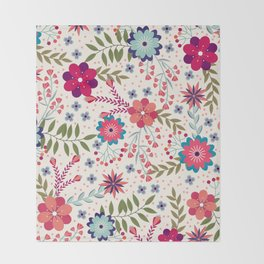 Colorful Floral Spring Pattern Throw Blanket