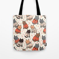 sweater Tote Bags featuring Sweater Cats - by Andrea Lauren by Andrea Lauren Design