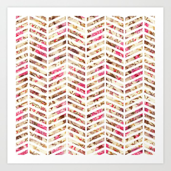 Pink Vintage Floral Girly Chevron Zig Zag Pattern Art Print