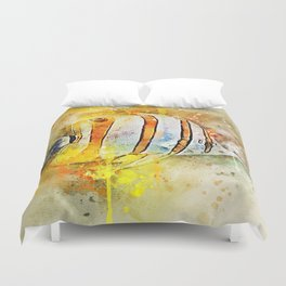 Yellow butterfly fish painted in bursting watercolor! Duvet Cover