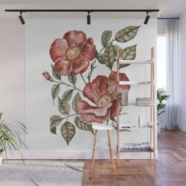 Red Floral Painting Wall Mural