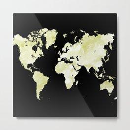 Design 73 World map olive green Metal Print