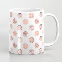 White & Coral Floral Polka Dot Pattern Coffee Mug