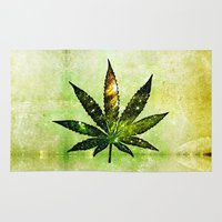 marijuana Area & Throw Rugs featuring Marijuana Leaf - Design 3 by Spooky Dooky