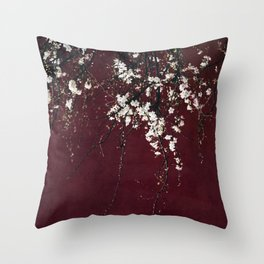 blossoms on ruby red Throw Pillow