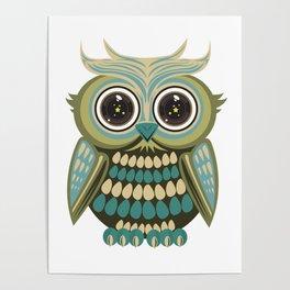 Star Eye Owl - Green Poster