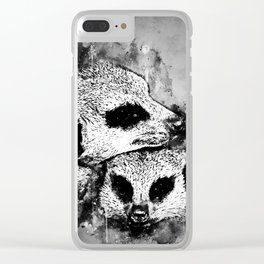 meerkat suricate mongoose wsbw Clear iPhone Case