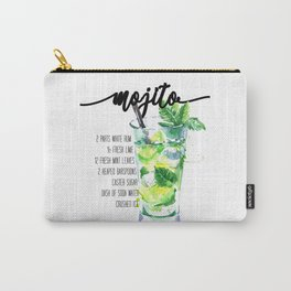 Mojito - Cocktail Watercolour - Typography Art - Calligraphy Recipe Carry-All Pouch