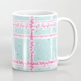 Feminist Killjoy - Beautiful Floral Tartan Text Print Coffee Mug