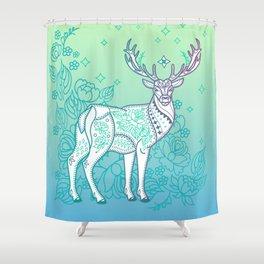Deer and Flower Shower Curtain