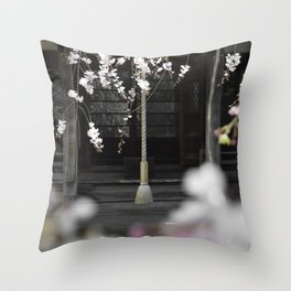 Prayer Bell Under The Cherry Blossoms Throw Pillow