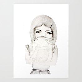 girl with rabbite Art Print