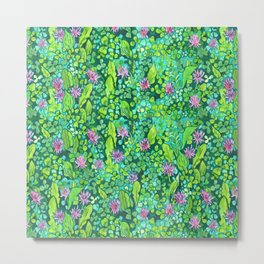 Pink Clover Flowers on Green Field, Floral Pattern Metal Print