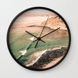 California Pacific Coast Highway // Vintage Waves Crashing on the Beach Teal Ocean Water Wall Clock