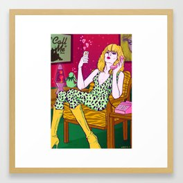Call me, a tribute to Blondie Debbie Harry and Kermit the frog poster illustration Framed Art Print