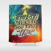 hiphop Shower Curtains featuring Damn Son! Redeux  by Jon Finlayson