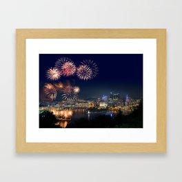 Fireworks over Pittsburgh on 4th July Framed Art Print