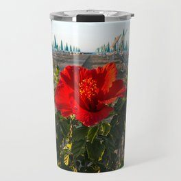 Red Beach Flower Travel Mug