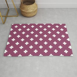 White Swiss Cross Pattern on Purple background Rug