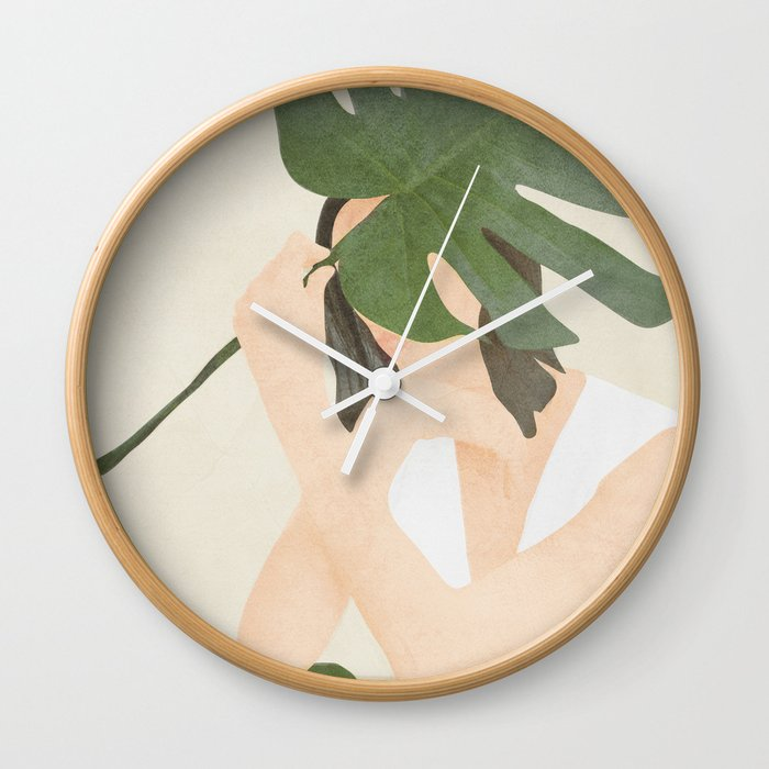 Under the Monstera Leaf Wall Clock