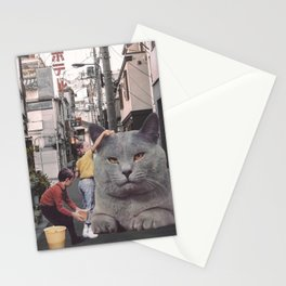 Children washing a giant Cat in Tokyo Streets Stationery Cards