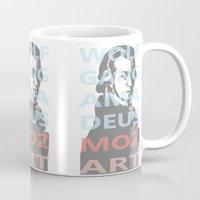 mozart Mugs featuring Wolfgang Amadeus Mozart by César Padilla