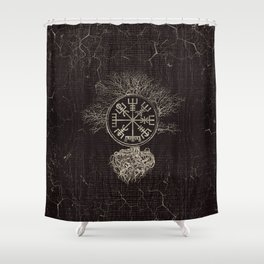 Vegvisir  and Tree of life  -Yggdrasil Shower Curtain