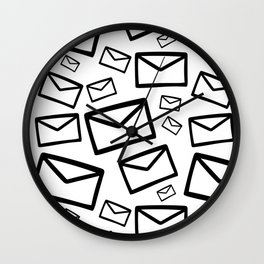 Black&white envelopes everywhere Wall Clock