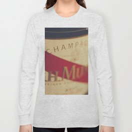 Champagne bottle, macro photography of old wine label on museum paper, still life, bar, home decor Long Sleeve T-shirt