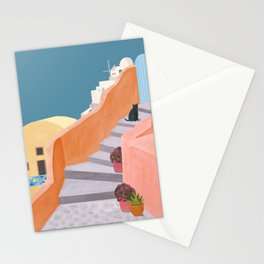 Santorini Pebble Stairs and Houses Stationery Cards