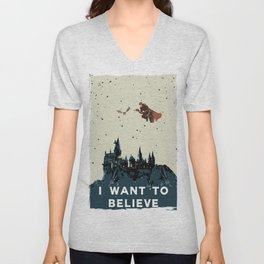 I Want To Believe - Hogwarts Unisex V-Neck