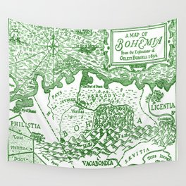 Map of Bohemia (green) Wall Tapestry