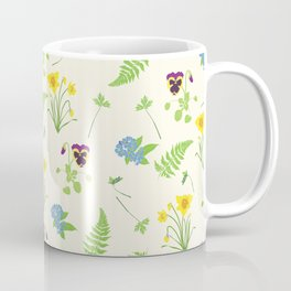 Spring Flowers and Ferns Illustrated Pattern Print Coffee Mug