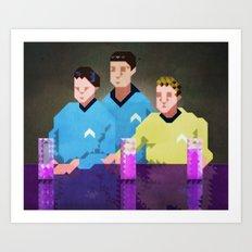 Three men from Enterprise sat in a space bar Art Print