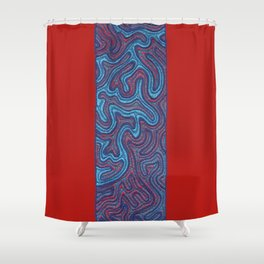Stitches - Coral Shower Curtain