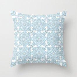 Snowmen - winter pattern - symmetrical mandala blue Throw Pillow