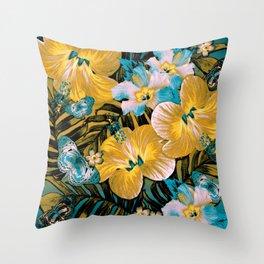 Golden Vintage Aloha Throw Pillow