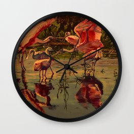 Spoonbill's At High Noon  Wall Clock