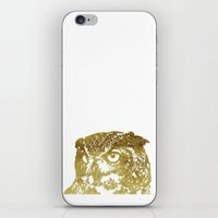 gold foil iPhone & iPod Skins featuring Faux Gold Foil Owl by Stacie Clarke