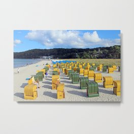 Beach chairs, yellow green Metal Print
