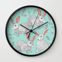 rabbits Wall Clocks featuring Rabbits by Wee Jock