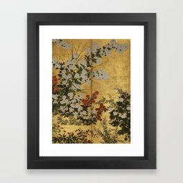 White Red Chrysanthemums Floral Japanese Gold Screen Framed Art Print