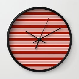 Large White and Dark Salem Red Milk Paint Stripes Wall Clock