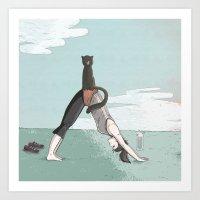 yoga Art Prints featuring yoga by lusym
