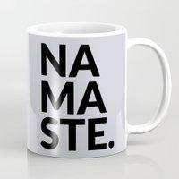 namaste Mugs featuring namaste by Amanda Nicole
