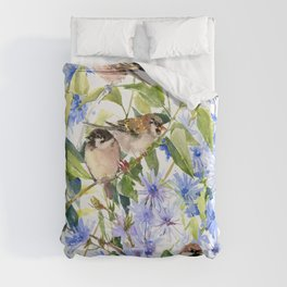 Sparrows and Chicory Flowers Duvet Cover